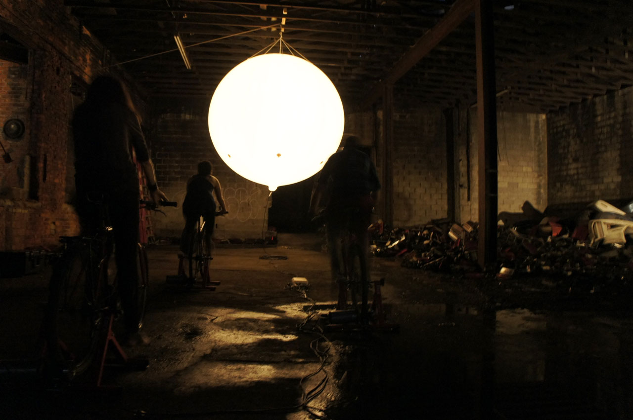 "Moon Ride. Interactive installation, 2013. Group Exhibition: ""Citydrift/Detroit"". Abandoned warehouse, Kunsthalle Detroit, Michigan, USA."