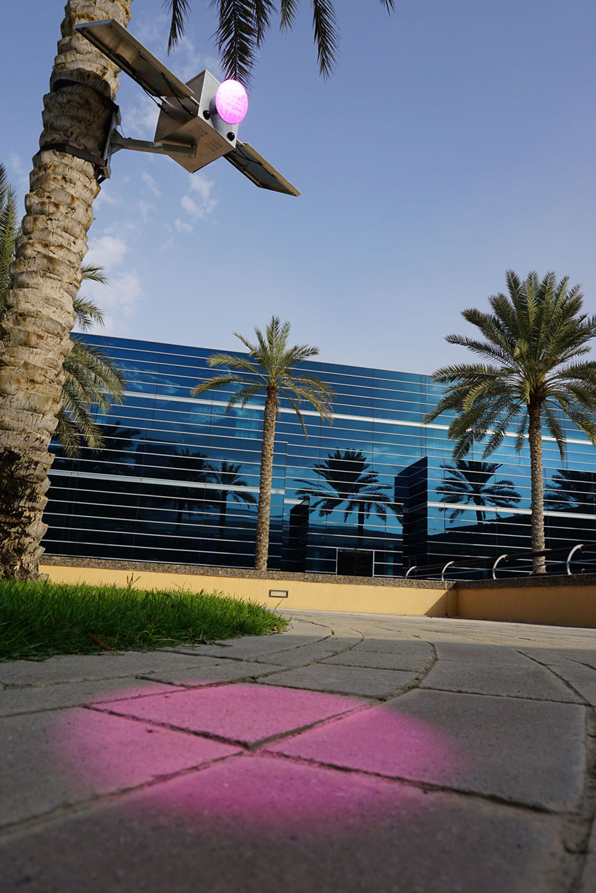"Solar Pink Pong. Interactive installation. ""ISEA 2014 – 20th International Symposium on Electronic Arts"", Dubai (United Arab Emirates). Photo: Assocreation."