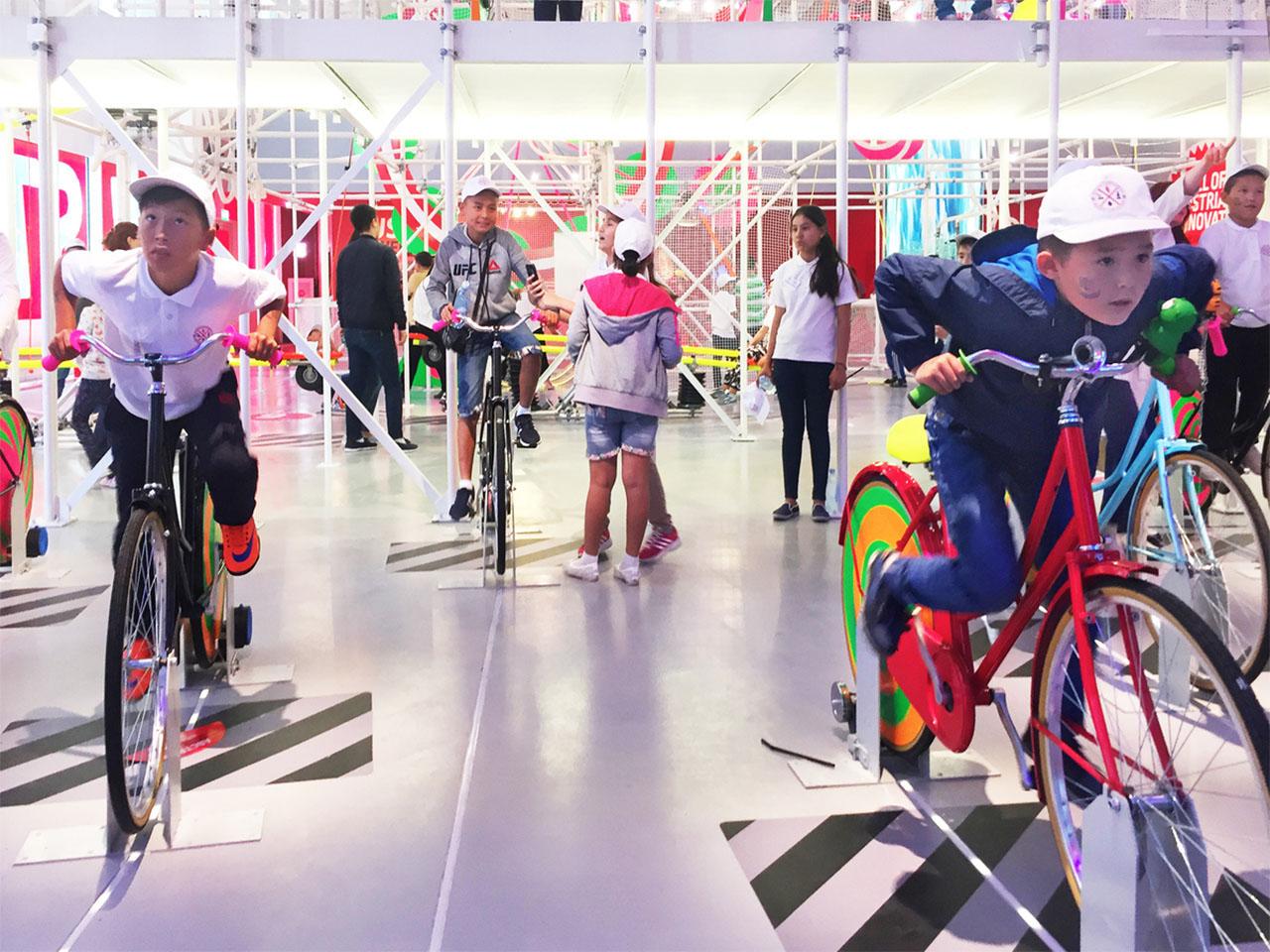 Austria Power Machine. Interactive installations 2017. Austrian EXPO 2017 pavilion, Astana, Kazakhstan. Photo: BWM Architekten
